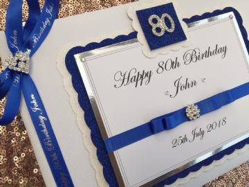 Personalised 80th Birthday Guest Book  - Blue